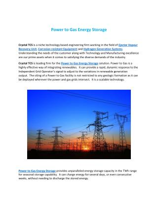 Power to Gas Energy Storage