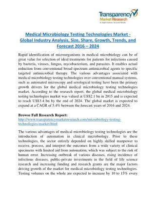 Medical Microbiology Testing Technologies Market - Positive long-term growth outlook 2024