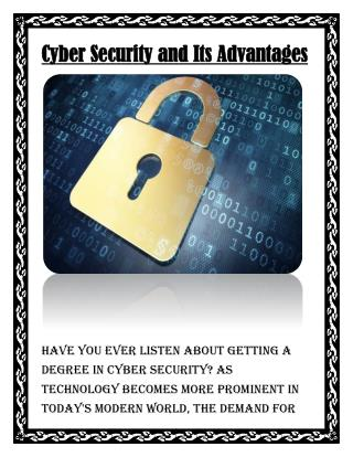 Advantages of Cyber Security