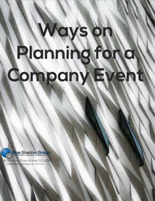 Ways on Planning for a Company Event