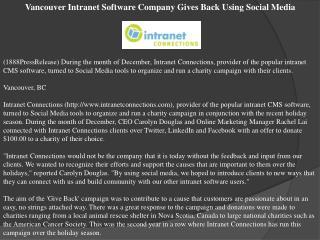 Vancouver Intranet Software Company Gives Back Using Social