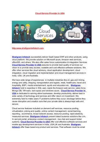 Cloud Service Provider In USA | Cloud Service Provider In UK | Cloud Service Provider In India