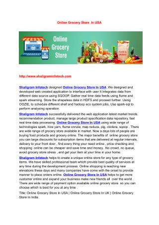 Online Grocery Store In USA | Online Grocery Store In UK | Online Grocery Store In India