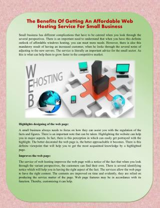 The Benefits Of Getting An Affordable Web Hosting Service For Small Business