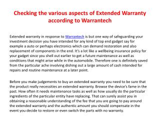Checking the various aspects of Extended Warranty according toWarrantech