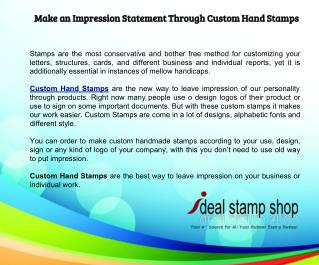 Make an Impression Statement Through Custom Hand Stamps