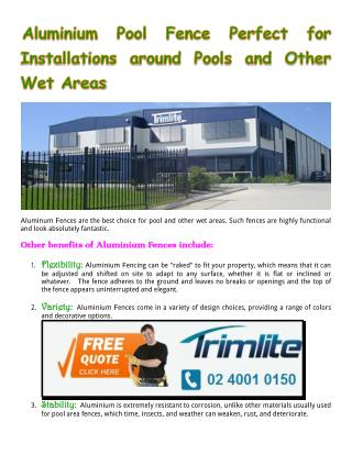 Aluminium Pool Fence Perfect for Installations around Pools and Other Wet Areas