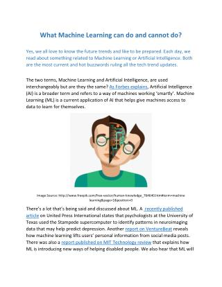 What Machine Learning can do and cannot do?
