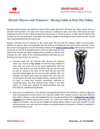 Electric Shavers and Trimmers – Buying Guide to Pick One Online