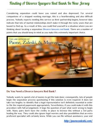 Finding A Divorce Lawyers Red Bank In New Jersey - Paonezaleski