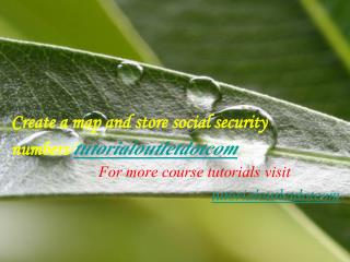 Create a map and store social security numbers/tutorialoutletdotcom