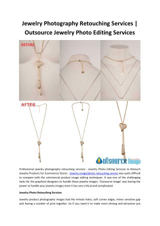 Jewelry Photography Retouching Services | Outsource Jewelry Photo Editing Services