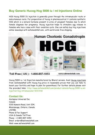 Buy Generic Hucog Hcg 5000 iu ml Injections Online From Safemeds4all