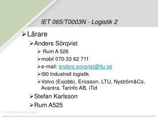 IET 065/T0003N - Logistik 2