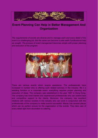 Event Planning Can Help in Better Management And Organization