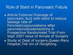Role of Stent in Pancreatic Fistula