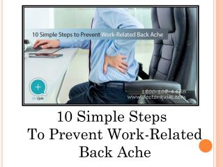 10 Simple Steps to Prevent Work-Related Back Ache