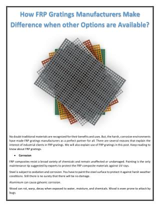 How FRP Gratings Manufacturers Make Difference when other Options are Available?