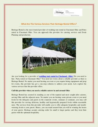 Tent Rental For Party & Wedding in Cincinnati Ohio - Heritage Event