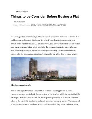 Things to be consider before buying a flat