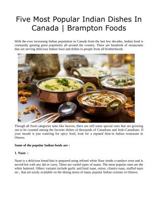 Five Most Popular Indian Dishes In Canada