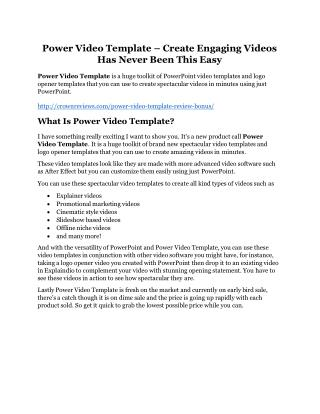 Power Video Template review pro-$15900 bonuses (free)