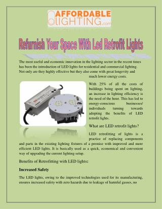 Refurnish Your Space With LED Retrofit Lights