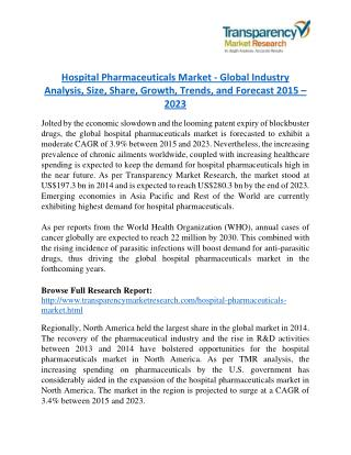 Hospital Pharmaceuticals Market - Positive long-term growth outlook 2023