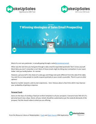 7 Winning Ideologies of Sales Email Prospecting