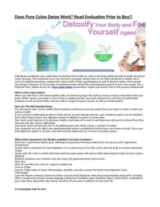 In what manner can make utilization of the Free Trial Offer of Pure Colon Detox?