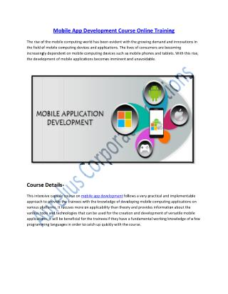 Get Certified on Mobile App Development Course Online