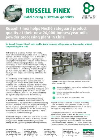 Nestle Improves Product Quality with Sanitary Circular Screeners