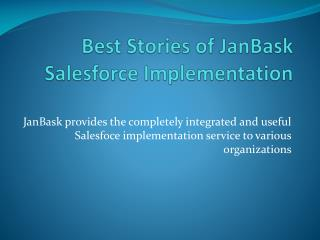 Best Stories of JanBask Salesforce Implementation for Financial Industry