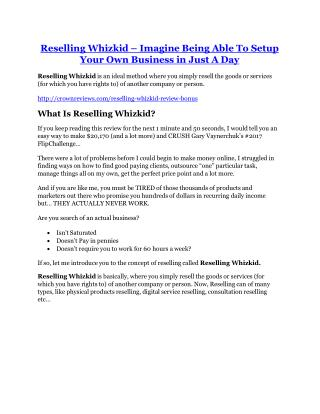 Reselling Whizkid review demo and premium bonus
