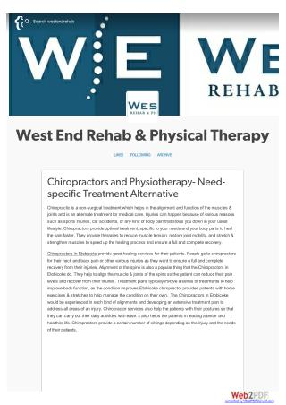 Chiropractors and Physiotherapy- Need-specific Treatment Alternative