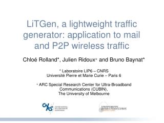 LiTGen, a lightweight traffic generator: application to mail and P2P wireless traffic