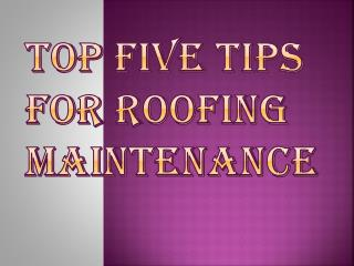 Five Best Tips for Roofing Maintenance