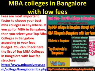 MBA colleges in Bangalore with low fees