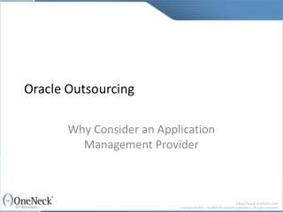 Oracle Outsourcing: Why Consider an Application Management P
