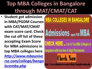 Top MBA Colleges in Bangalore through MAT/CMAT/CAT