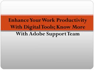 Enhance Your Work Productivity With Digital Tools; Know More With Adobe Support Team