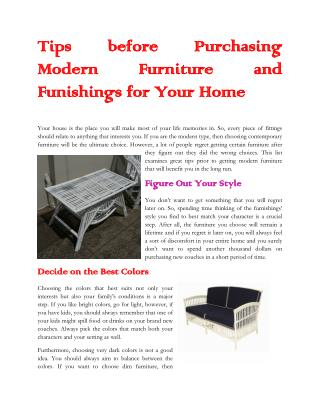 Tips Before Purchasing Modern Furniture and Funishings  For Your Home