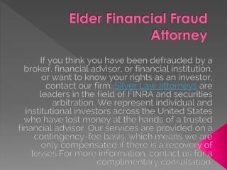 Financial Scams Against Seniors | Elderfinancialfraudattorneys.com