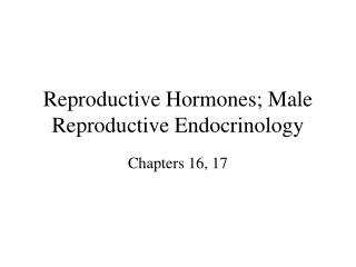Reproductive Hormones; Male Reproductive Endocrinology