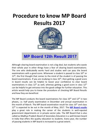 Procedure to know MP Board Results 2017