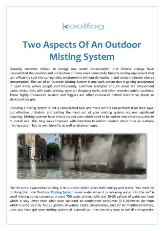 Two Aspects Of An Outdoor Misting System