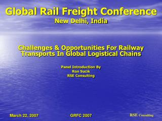 Global Rail Freight Conference New Delhi, India