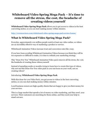 Whiteboard Video Spring Mega Pack review and (COOL) $32400 bonuses
