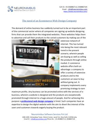 The Need of an Ecommerce Web Design Company