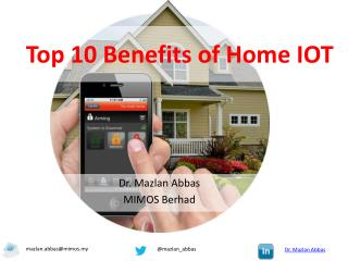 Top 10 benefits of Home Internet of Things (IOT)